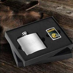 Green Bay Packers Personalized Flask and Lighter Gift Set