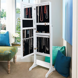 Cheval Mirror Wooden Jewelry Armoire