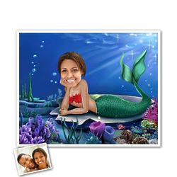 Personalized Mermaid Caricature Print from Photo