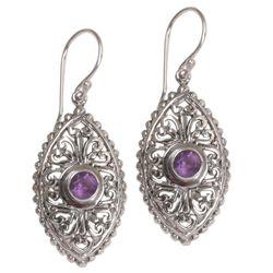 Wonderful Bali Amethyst Dangle Earrings in Purple