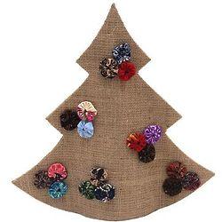 Christmas Tree with Batik Flowers on Brown Jute Sculpture