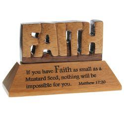 Faith Standing Mahogany Plaque