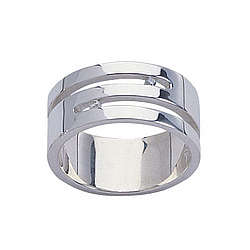 Mens Flat Diamond Ring in Sterling Silver