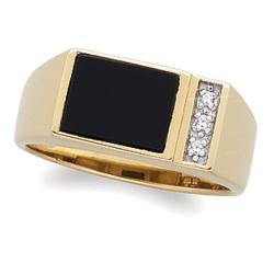 Onyx and Diamond Accent Men's Ring
