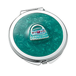 Green Marbelized Round Compact Mirror with Purse Design
