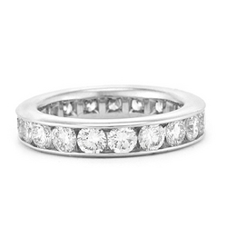 Round Diamond Channel Set Eternity Band in 14K White Gold