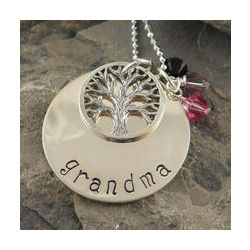 Grandma Family Tree Personalized Hand Stamped Necklace