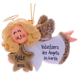 Personalized Volunteer Blonde Angel Ornament