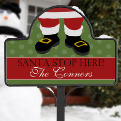 Personalized Santa Claus Stop Here Yard Stake