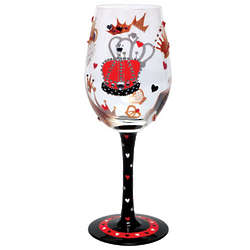 King of Hearts Painted Wine Glass