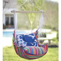 Outdoor Chair Swing with Daisy Pillow
