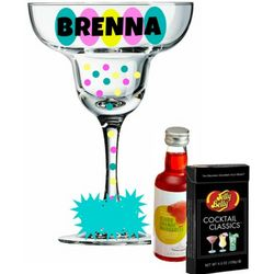 Personalized Polka Dot Margarita Glass