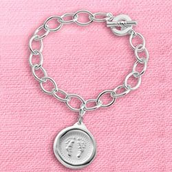 Wax Seal Baby Footprint Charm Bracelet
