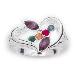 Sterling Silver Marquise Family Birthstone Ring