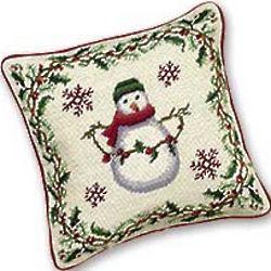 Needlepoint Snowman Pillow