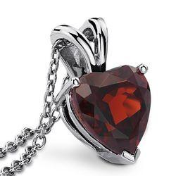 Garnet Heart Pendant in Sterling Silver