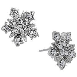 Downton Abbey Silver Starburst Button Earrings