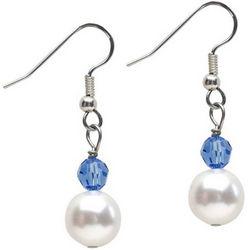 Pearl with Birthstone Crystal Drop Earrings