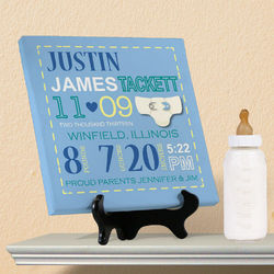 Personalized Boy Birth Announcement Canvas