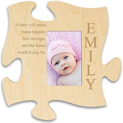Personalized Family Story Natural Wood Puzzle Piece Picture Frame