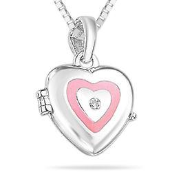 Girl's Diamond Resin Heart Locket Pendant in Silver