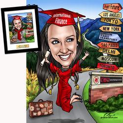 Personalized Custom Graduation Caricature Art