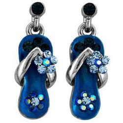 Caribbean Blue Crystal Flower Strap Earring in White Gold Plate