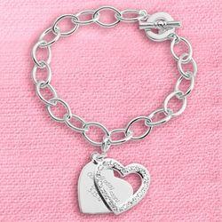 Pave Swing Heart Charm Bracelet