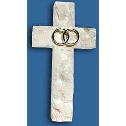 Silver Wedding or Anniversary Jerusalem Stone Wall Cross