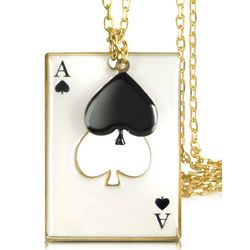 Ace of Spades with Floating Black Heart Charm Necklace