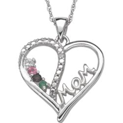 Sterling Silver Mother's Gemstone Heart Necklace with Diamond