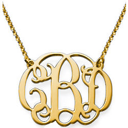 Celebrity Monogram Necklace in 18k Gold Plating