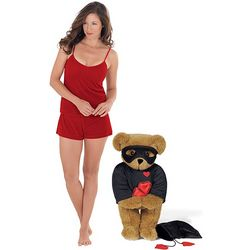 "15"" Love Bandit Teddy Bear and XS Ruby Velour PJs Short Set"