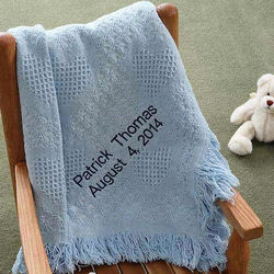 Sky Blue Embroidered Sweet Dreams Baby Blanket