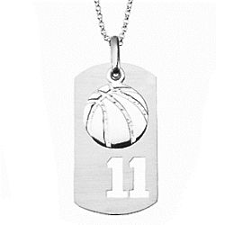 Sterling Silver Basketball Sports Number Tag Pendant