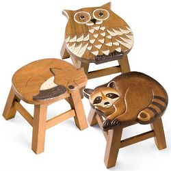 Hand Carved Animal Topped Wood Stool