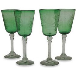 Emerald Flowers Etched Wine Glass Set