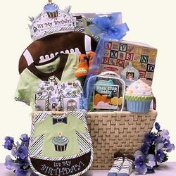 Baby Boy's 1st Birthday Large Gift Basket