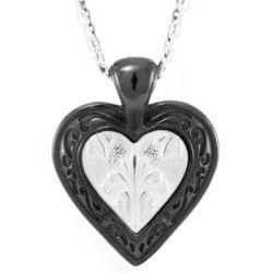 Lace Black Titanium and Sterling Silver Heart Necklace