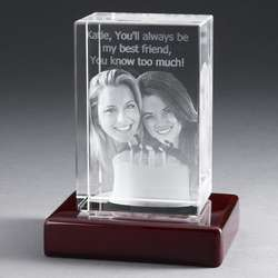 Personalized Portrait 5 Inch Photo Crystal with Rosewood Base