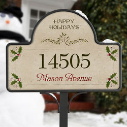 Personalized Season's Greetings Christmas Address Plaque