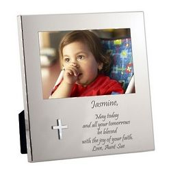 Personalized Silver Cross Message from the Heart Frame
