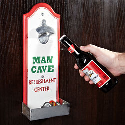 Man Cave Beer Bottle Opener with Cap Catcher