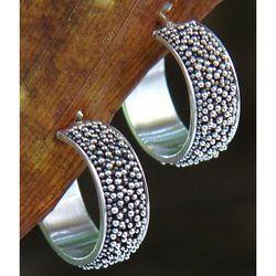 Balinese Dreams Sterling Silver Half Hoop Earrings