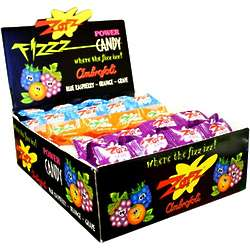 Blue Raspberry, Orange, and Grape Zotz Fizz Power Candy