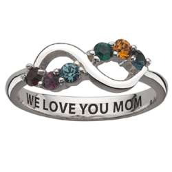Sterling Silver Family Birthstone Infinity Ring