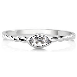 Marquise White Topaz 10 Karat White Gold Woven Solitaire Ring