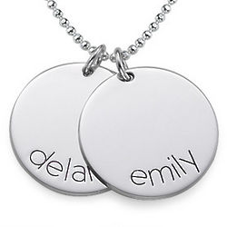 Kid's Engraved Name Disc Necklace