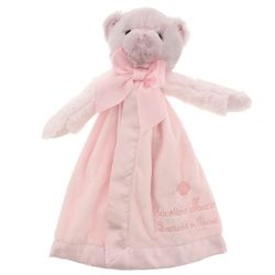 Personalized Pink Baptism Bear Snuggler
