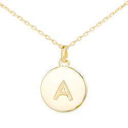 Birthday Diva Initial Gold Disc Necklace